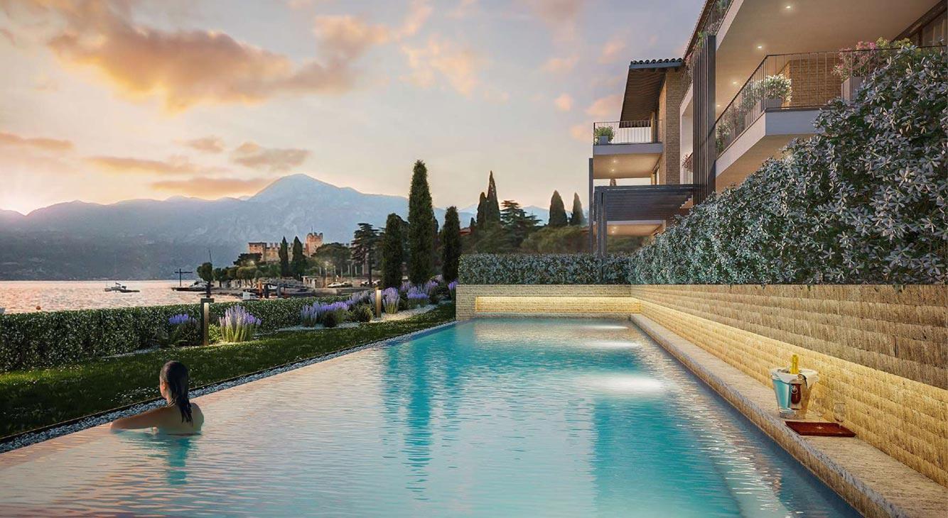 Top Lage direkt am Gardasee - Luxus Apartment mit Infinity Pool